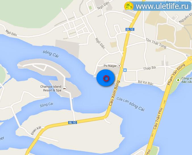 Рыбный рынок Нячанга на карте