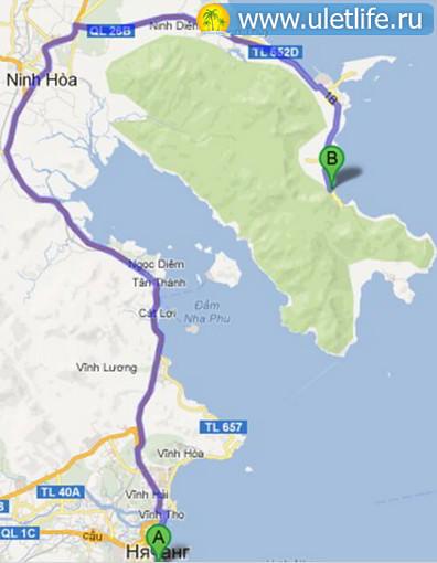 Пляж Хон Хео карта